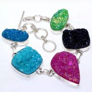 Sterling Silver Titanium Druzy Gemstone bracelet